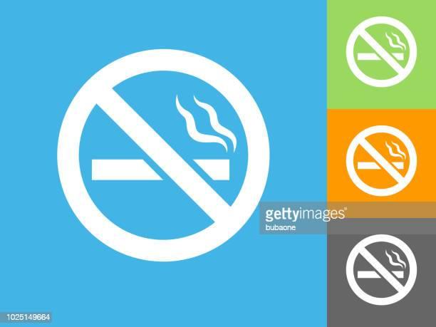 no cigarette smoking flat icon on blue background - no smoking sign stock illustrations