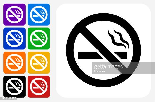 no cigarette smoking icon square button set - smoke physical structure stock illustrations, clip art, cartoons, & icons