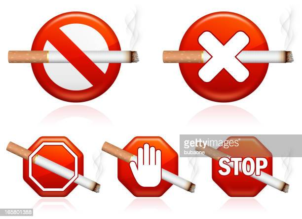 no cigarettes allowed sign - crossed out stock illustrations