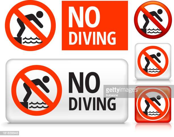 no diving royalty free vector art buttons - crossed out stock illustrations