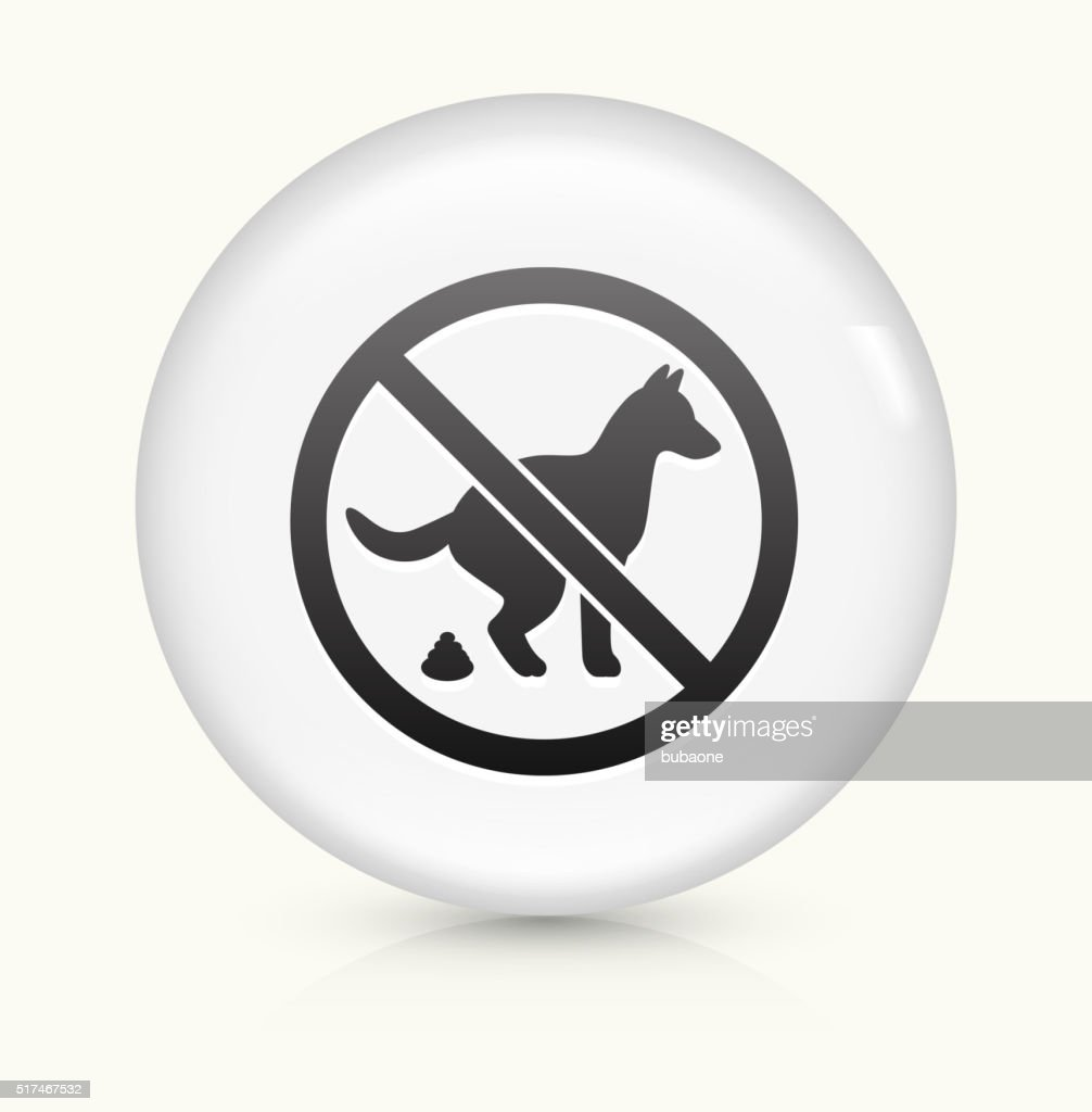 No Dogs Allowed Sign icon on white round vector button