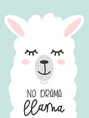 No drama llama cute card with cartoon llama. No probLlama motivational and inspirational quote. Cute  llama drawing with lettering.
