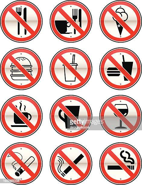 stockillustraties, clipart, cartoons en iconen met no eating, drinking & smoking signs - food and drink