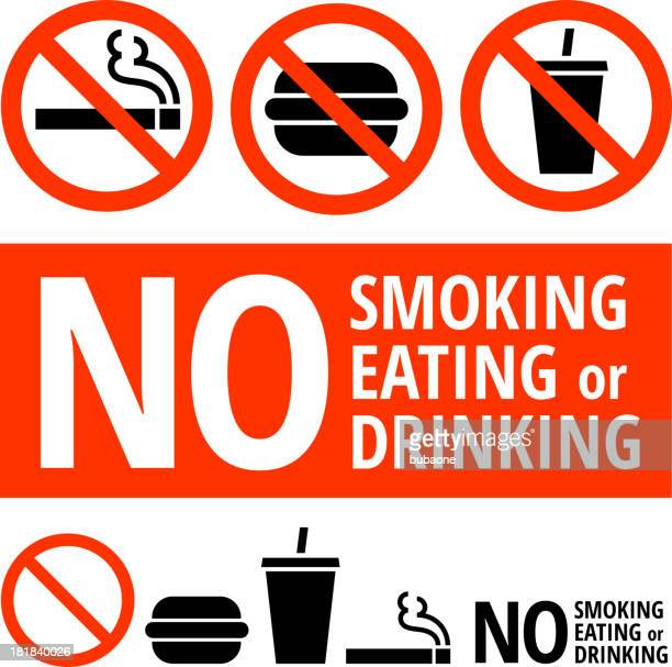stockillustraties, clipart, cartoons en iconen met no eating, smoking, or drinking sign on buttons and banners - food and drink