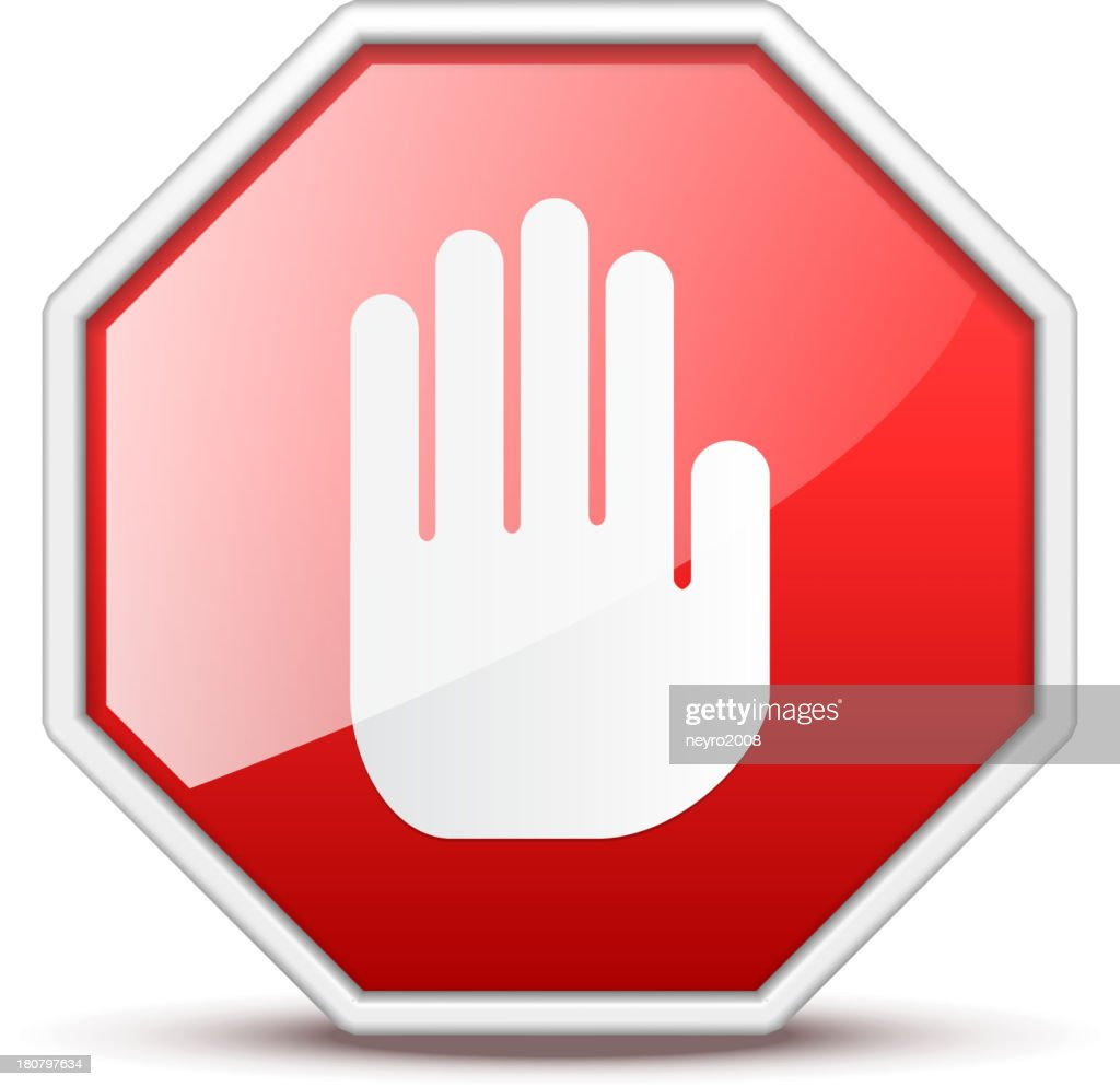 No entry red and white hand sign