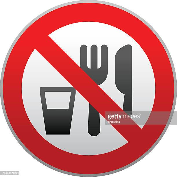 no food and drink warning sign - forbidden stock illustrations