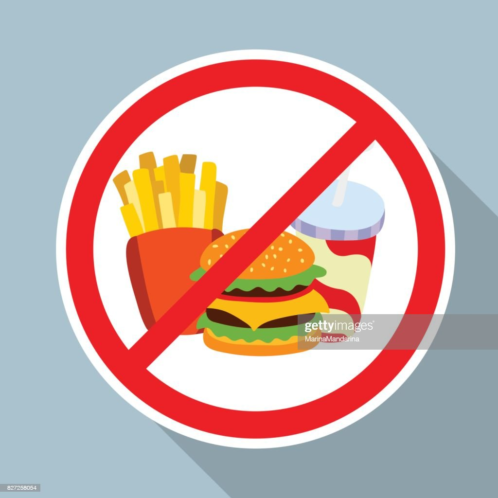 No hamburger, french fries and soft drink allowed sign.