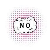 No in cloud icon in comics style
