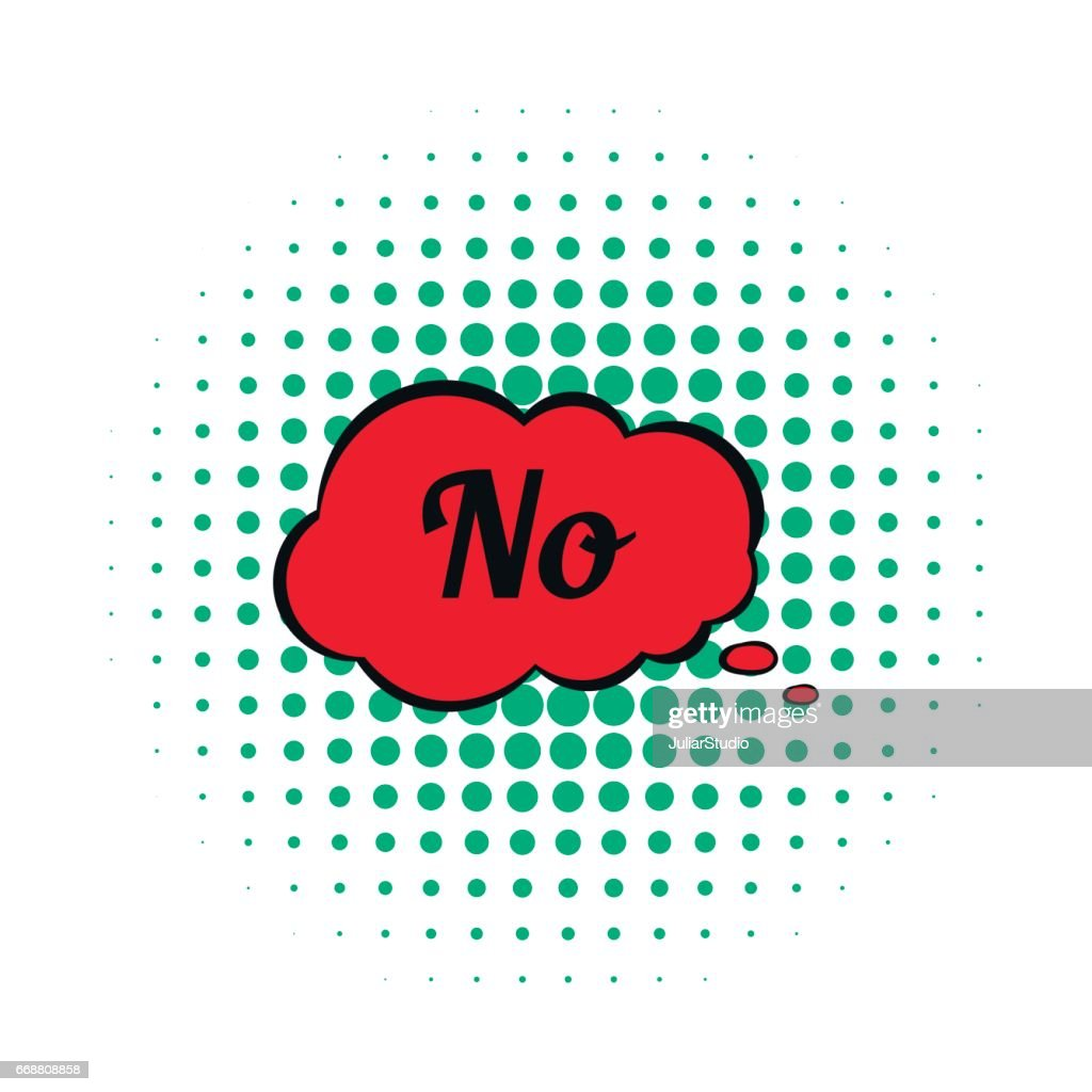 No in red cloud icon, comics style
