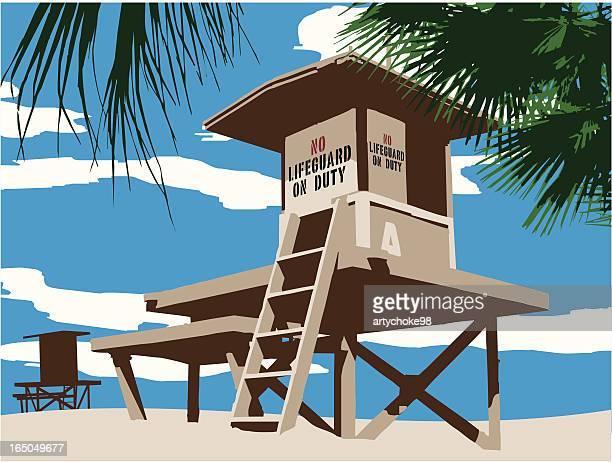 keinen rettungsschwimmer im einsatz - strandwächterhaus stock-grafiken, -clipart, -cartoons und -symbole