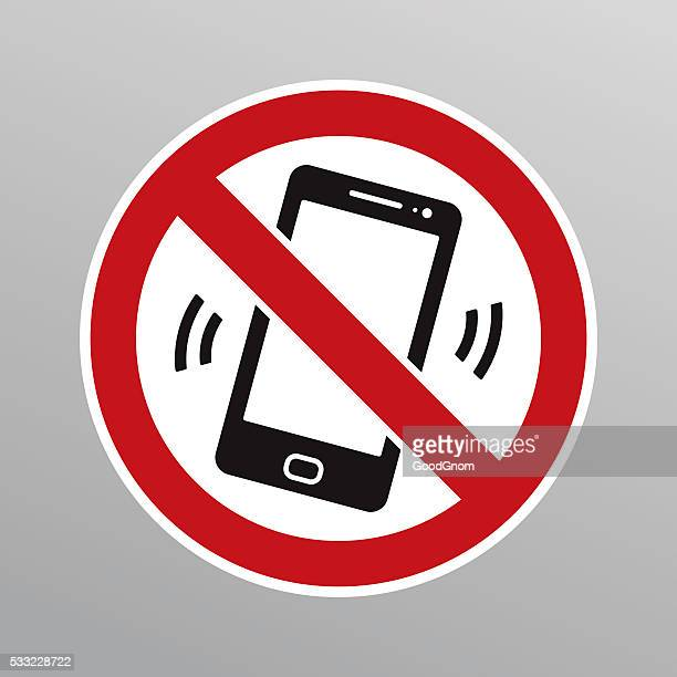 no mobile phones sign - forbidden stock illustrations