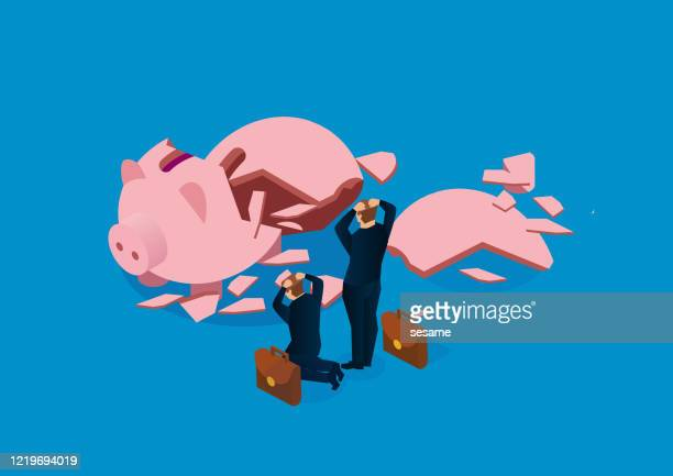 no money in a broken piggy bank - broken stock illustrations