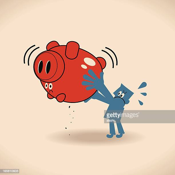 no money in the piggy bank - money out the window stock illustrations, clip art, cartoons, & icons