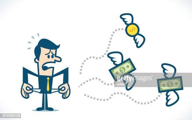 ilustrações, clipart, desenhos animados e ícones de nenhum dinheiro - voando