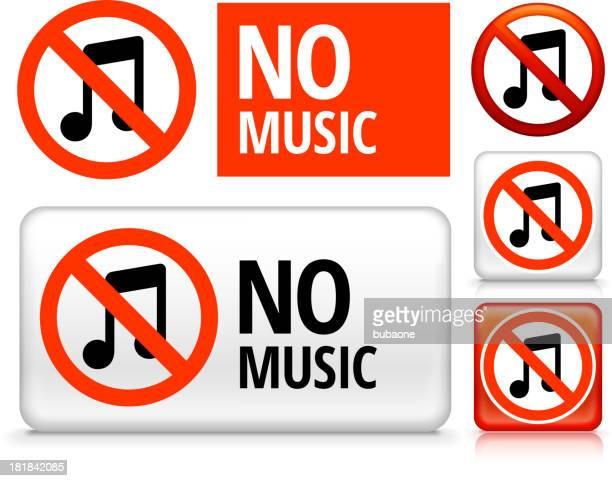 no music royalty free vector art buttons - forbidden stock illustrations