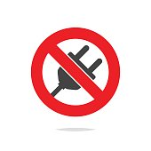 No plug sign icon vector