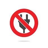 No plug sign vector