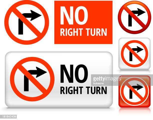 no right turn royalty free vector art buttons - turn signal stock illustrations, clip art, cartoons, & icons