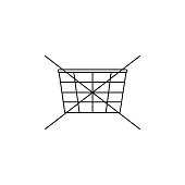 no shopping cart icon, vector illustration. no shopping icon