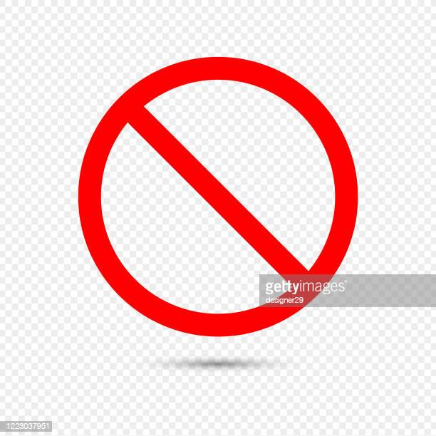 no sign icon. red crossed circle vector design on transparent background. - forbidden stock illustrations