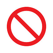 No Sign Icon. Red Crossed Circle Vector Design.
