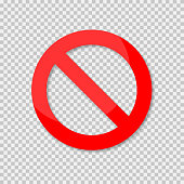 No sign isolated. Red no symbol. Circle red warning icon. Template for button or web applications.