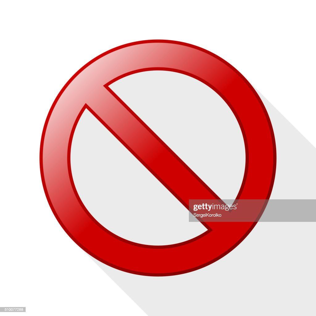 No sign with long shadow on white background