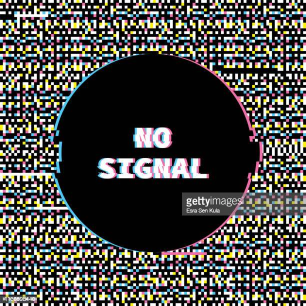 no signal banner with glitch noise retro effect - problems stock illustrations