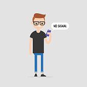 No signal, conceptual illustration. Angry character holding a smartphone. No internet. Flat editable vector illustration, clip art