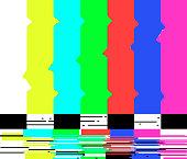 No signal poster TV retro television test pattern screen glitch background color bars vector illustration.