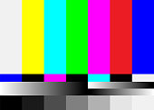 No Signal TV Test Pattern Vector. Television Colored Bars Signal. Introduction And The End Of The TV Programming. SMPTE Color Bars Illustration.