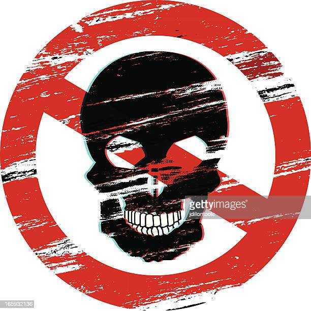 no skull warning symbol - nuclear fallout stock illustrations
