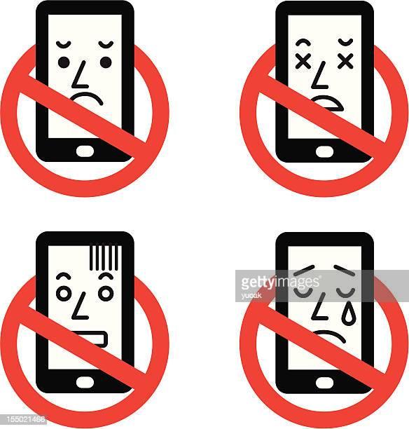 ilustrações de stock, clip art, desenhos animados e ícones de nenhum sinal de smartphone - proibido celular