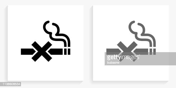 no smoking black and white square icon - no smoking sign stock illustrations