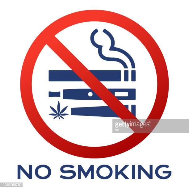 no smoking cigarette vape marijuana sign - no smoking sign stock illustrations