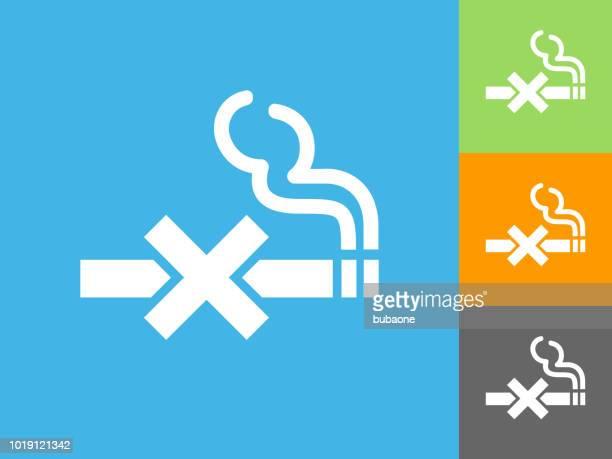 no smoking  flat icon on blue background - no smoking sign stock illustrations