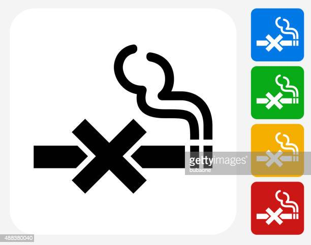 no smoking icon flat graphic design - smoking issues stock illustrations, clip art, cartoons, & icons