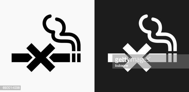 no smoking icon on black and white vector backgrounds - no smoking sign stock illustrations