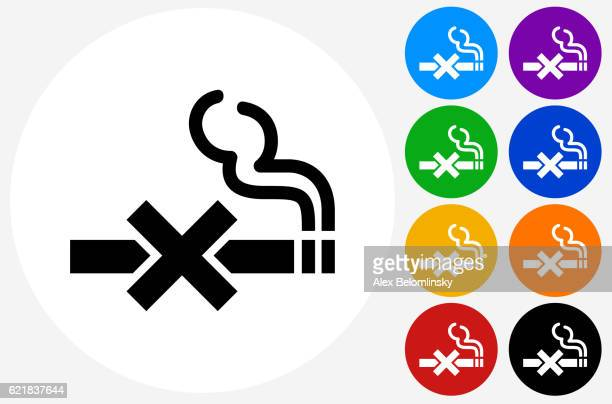 no smoking icon on flat color circle buttons - no smoking sign stock illustrations