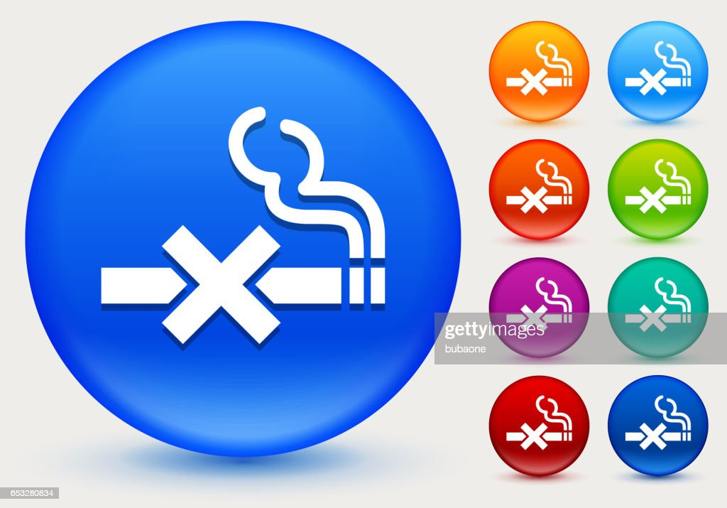 No Smoking Icon on Shiny Color Circle Buttons : Vector Art