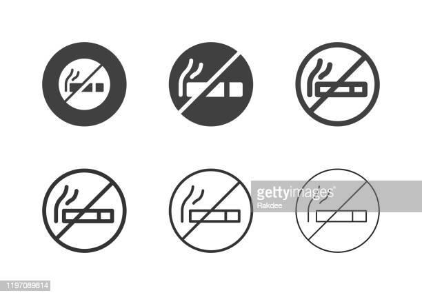 no smoking icons - multi series - no smoking sign stock illustrations
