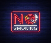 No smoking neon sign. Bright character, neon banner, icon, luminous warning sign of smoking in an unauthorized place. Stop smoking. Vector illustration