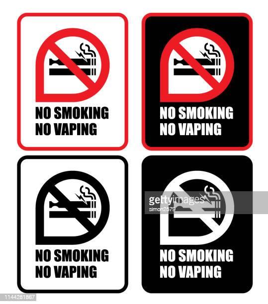 no smoking no vaping sign icon set - no smoking sign stock illustrations