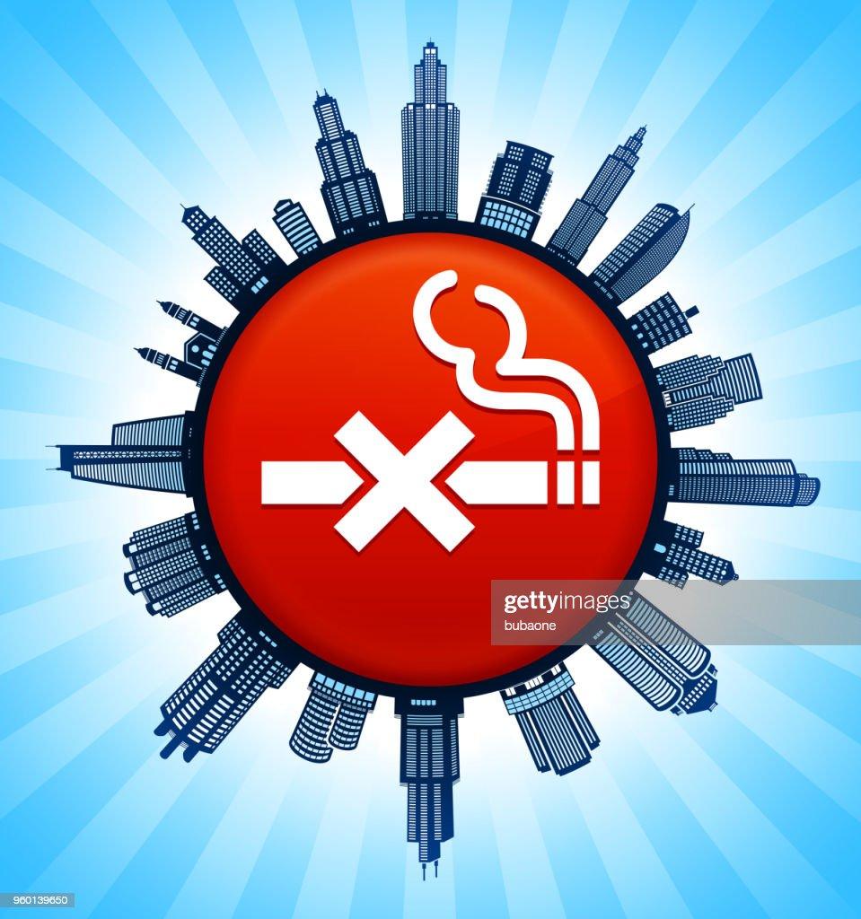 No Smoking  on Modern Cityscape Skyline Background : stock illustration