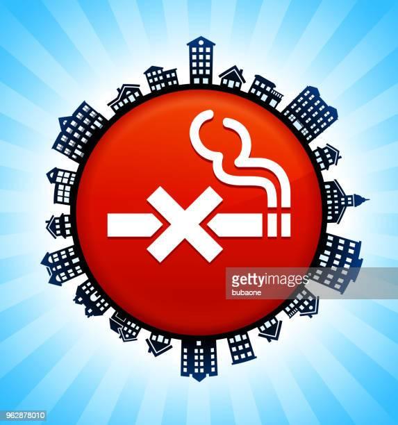 rauchverbot auf ländlichen stadtbild skyline hintergrund - stockwerk stock-grafiken, -clipart, -cartoons und -symbole