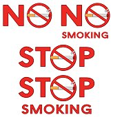 No Smoking Red Signs Design With Cigarette With Text Stop Smoking. Collection Set