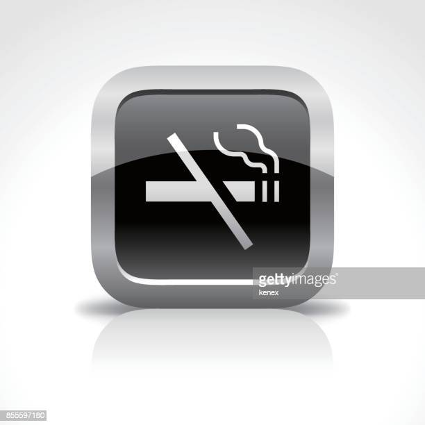 no smoking sign glossy button icon - quitting smoking stock illustrations, clip art, cartoons, & icons