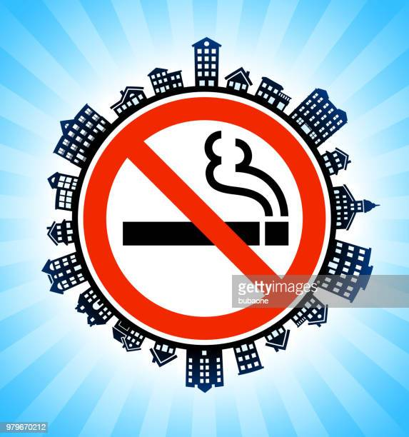 ilustraciones, imágenes clip art, dibujos animados e iconos de stock de ningún signo de fumar en el fondo del horizonte de paisaje urbano rural - smoke