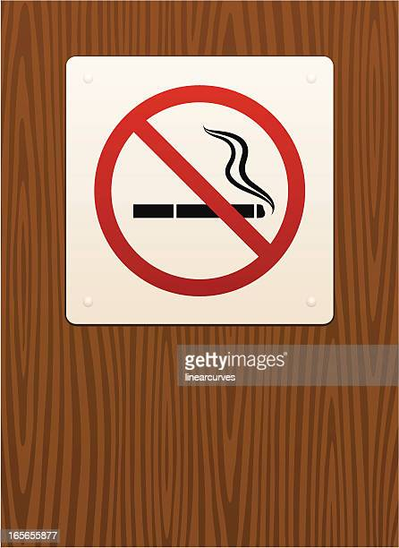 No smoking sign on wood grain background