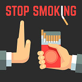 No smoking vector concept. Hand with cigarette and hand with reject gesture